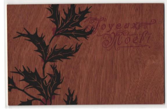 Holz-AK Joyeux Noel, Weihnachtsgruss mit Stechpalmzweig 0