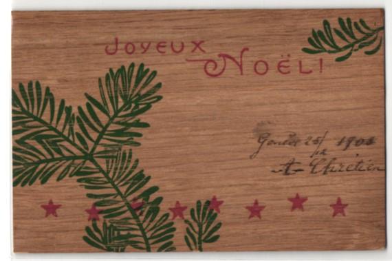 Holz-AK Joyeux Noel, Weihnachtsgruss mit Tannenzweig