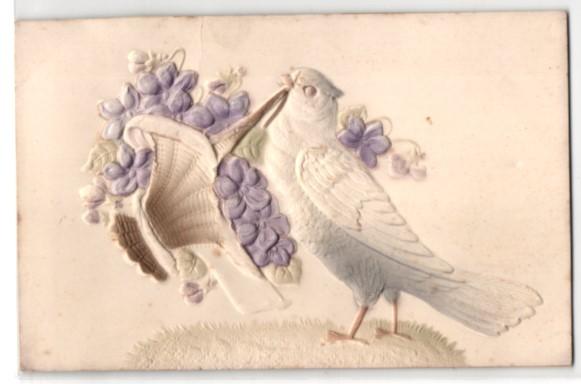 Präge-Airbrush-AK Weisse Taube mit Blumenkorb im Schnabel 0