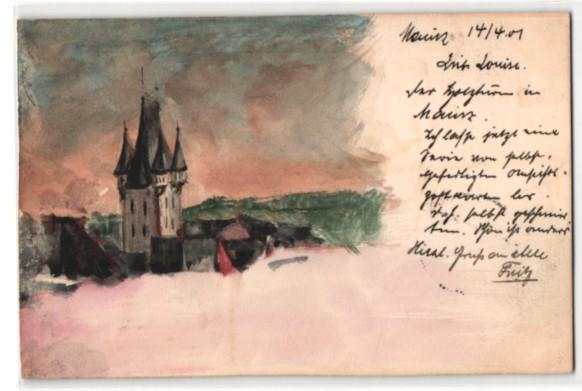 Künstler-AK Handgemalt: Mainz, Teilansicht mit Holzturm 0