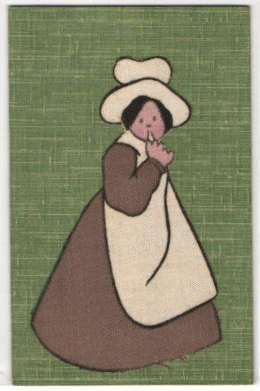 Leinen-AK Frau in schwarz-weisser Tracht mit Haube 0