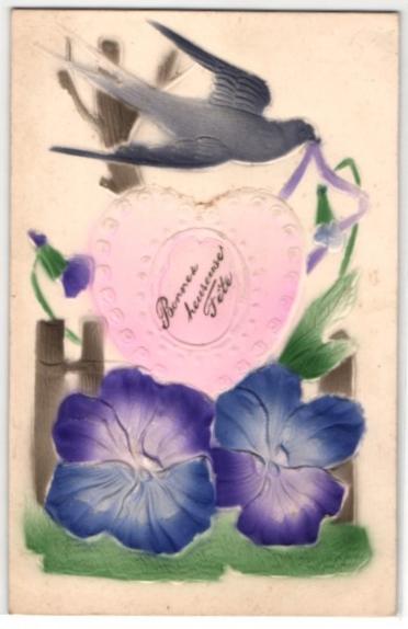 Präge-Airbrush-AK Schwalbe über einem Herz mit Rosen 0