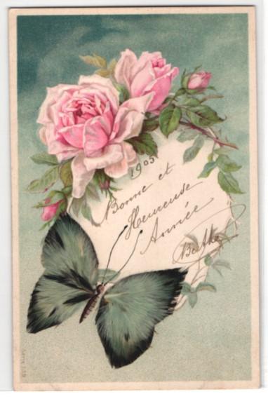 Echtfeder-AK Schmetterling mit Flügeln aus Federn und rosa Rosen