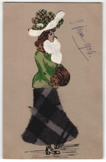 Filz-AK Dame in Winterkleidung, Kleid aus Filz