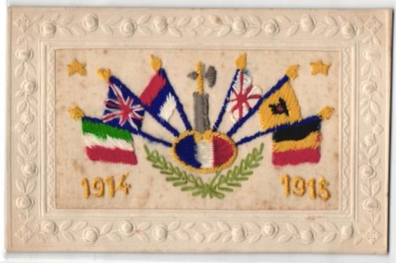 Seidenstick-AK Flaggen verbündeter Länder in den Kriegsjahren 1914 und 1915 0