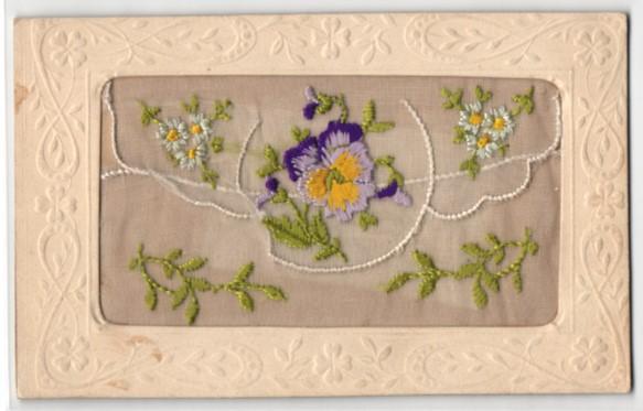 Seidenstick-AK Mit Blumen bestickte Stofftasche