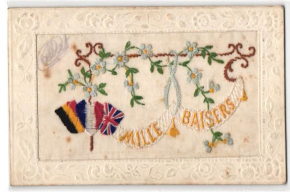 Seidenstick-AK Mille Baisers, Flaggen Englands, Belgiens und Frankreichs