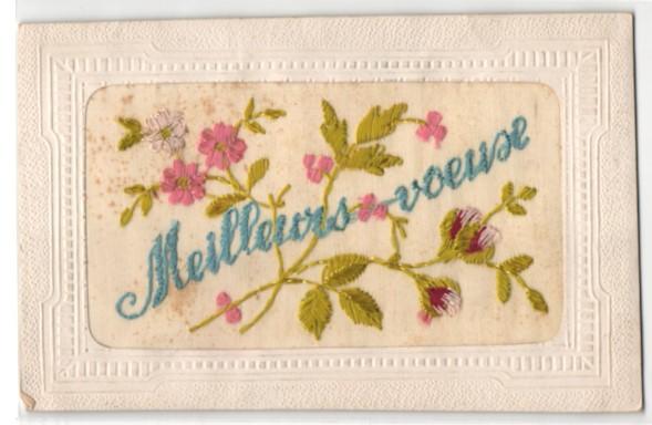Seidenstick-AK Meilleurs voeux, Grussbotschaft mit Blumen