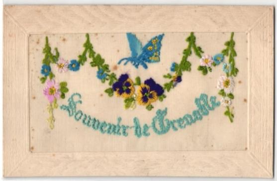 Seidenstick-AK Souvenir de Grenoble, Gruss aus Grenoble mit Schmetterling 0