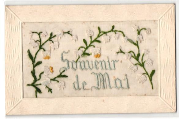 Seidenstick-AK Souvenir de Mai, Frühlingsgruss mit Maiglöckchen 0
