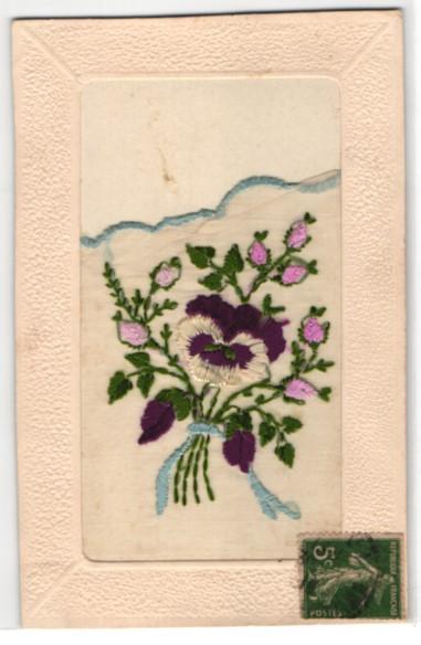 Seidenstick-AK Gruss mit Stiefmütterchen und knospenden Rosen