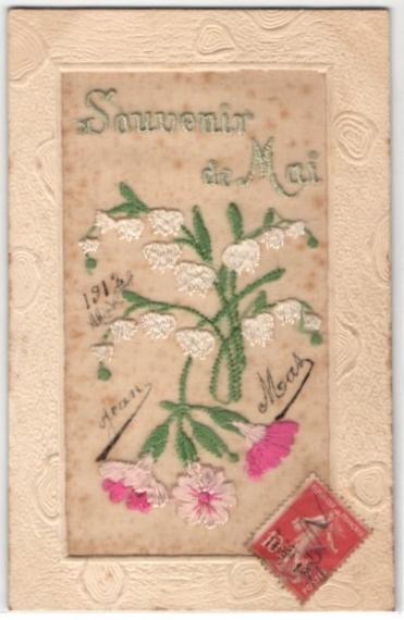 Seidenstick-AK Souvenir de Mai, Frühlingsgruss mit Maiglöckchen