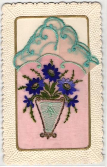 Seidenstick-AK Blumenbestickte Stofftasche mit Einstecktuch