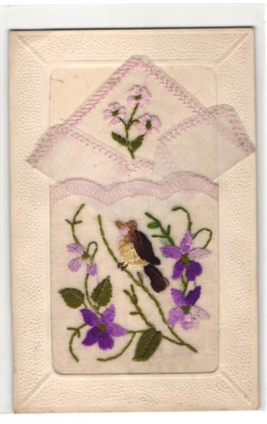 Seidenstick-AK Blumenbestickte Stofftasche mit Einstecktüchlein