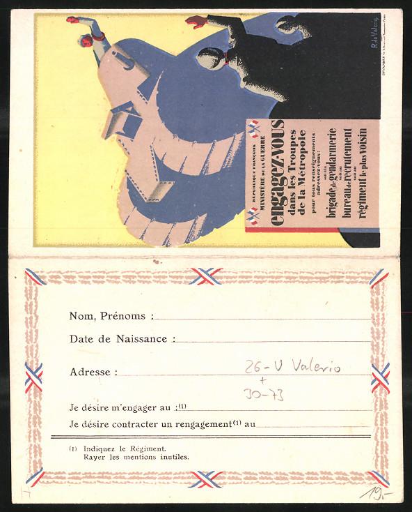 Klapp-Künstler-AK sign. R. de Valerio: Engagez-vous dans les Troupes, Einberufungs-Erklärung, Soldat im Tank