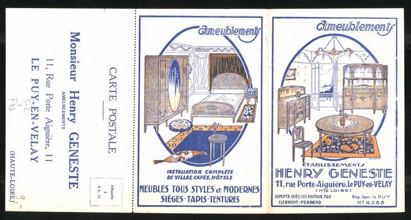 Klapp-AK Le Puy-en-Velay, Ameublements Henry Geneste, 11 Rue Porte Aiguière, Schlafzimmer, Jugendstil 0