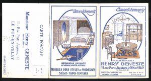 Klapp-AK Le Puy-en-Velay, Ameublements Henry Geneste, 11 Rue Porte Aiguière, Schlafzimmer, Jugendstil