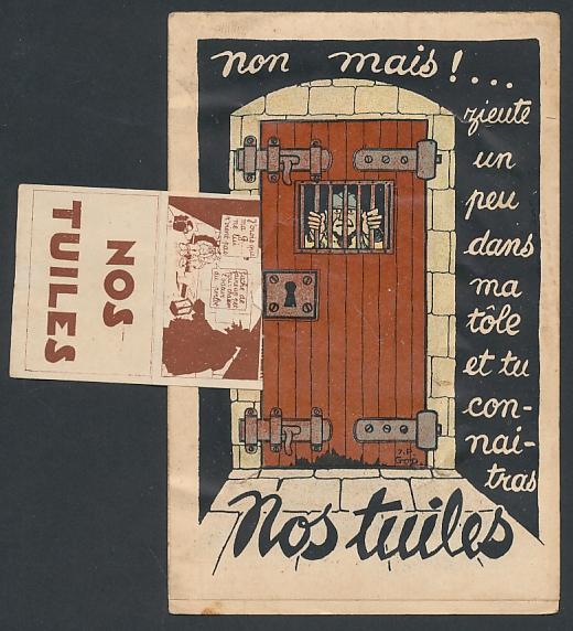 Mechanische-AK Nos Tuiles, Leporello mit comicartigen Szenen aus dem Soldatenleben 0