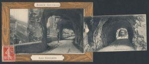 Leporello-AK Les Goulets, Les Grands Goulets, Von Galerien durchbrochener Tunnel