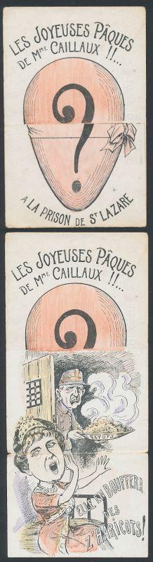 Klapp-AK Les Joyeuses Paques de Mme. Henriette Caillaux!! A la Prison de St. Lazaire 0