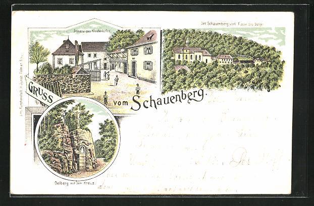 Lithographie Pfaffenheim, Der Schauenberg vom Fusse des Berges, Oelberg mit dem Kreuz, Innere des Klosterhofes 0