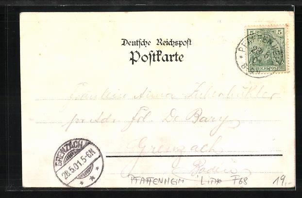 Lithographie Pfaffenheim, Der Schauenberg vom Fusse des Berges, Oelberg mit dem Kreuz, Innere des Klosterhofes 1
