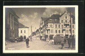 AK Jelgava, Strassenpartie mit Gebäudeansicht und Pferdewagen