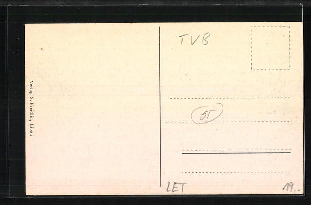 AK Libau, Teilansicht Südseite m. Blick auf die kl. See u. Ostseite, Die stumme Fruchthändlerin 1
