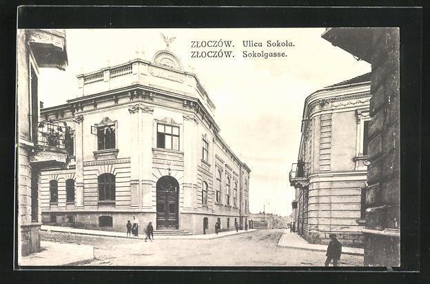 AK Zloczow, Sokolgasse mit Passanten