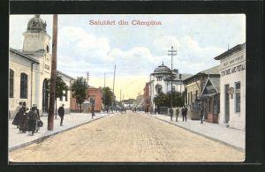 AK Campina, Strassenpartie mit Gebäudeansicht und Passanten
