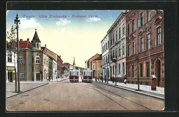 AK Tarnow, Krakauer Gasse mit Strassenbahn 0