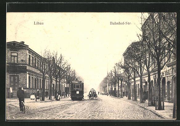 AK Libau, Bahnhofstrasse mit Strassenbahn 0