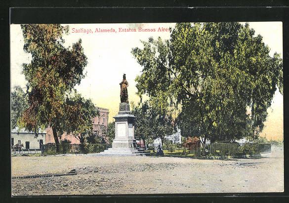 AK Buenos Aires, Santiago, Alameda, Estatua