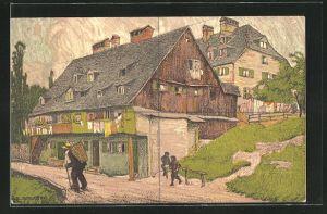 Künstler-AK Au, Häuser im Ort