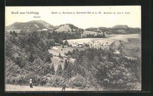 AK Hulftegg, Landschaftspanorama mit Gast- und Kurhaus z. Sennhof