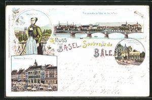 Lithographie Basel, Elephantenhaus im Zoologischen Garten, Rathaus und Marktplatz
