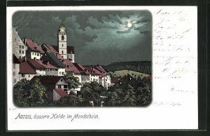 Lithographie Aarau, Äussere Halde im Mondschein