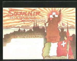 Künstler-AK Neuchatel, Cinquantenaire et Tir federal 1848