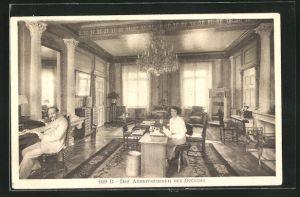 AK Genf, Schloss Cartigny, Blick in das Arbeitszimmer