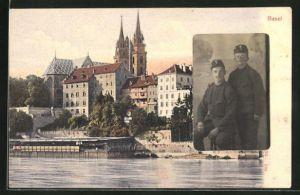 AK Basel, Ortspartie vom Rhein aus gesehen, Bildnis zweier Soldaten