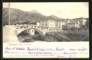 AK Toscolano, Ortspartie mit Brücke und Häusern