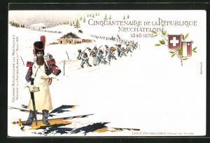 Lithographie Neuchatel, Cinquantenaire de la Republique 1848-1898, Soldaten in Uniformen mit Schweizer Flagge