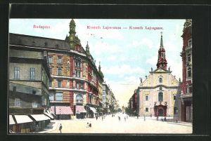 AK Budapest, Kossuth Lajos-utcza - Kossuth Lajosgasse mit Geschäften