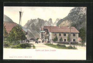 AK Landro, Ortsansicht mit Monte Cristallo