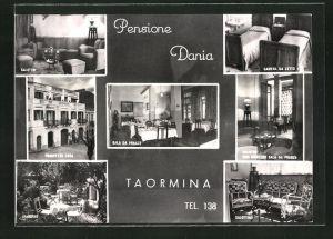 AK Taormina, Pensione Dania, Innenansichten Salotto, Camera da Letto, Salonttino