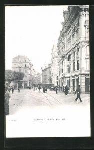 AK Geneve, Passanten und Geschäfte am Place Bel-Air
