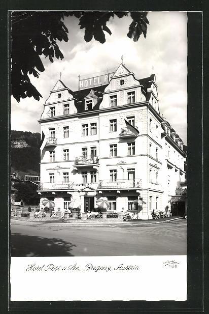 AK Bregenz, Hotel Post am See, Fassade mit Eingang