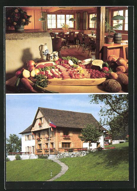 AK Schellenberg, Wirtschaft zum Löwen, Fassade, Speiseraum