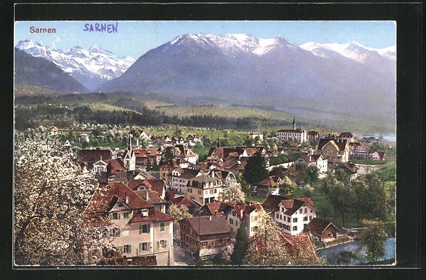 AK Sarnen, Ortsansicht mit Bergen