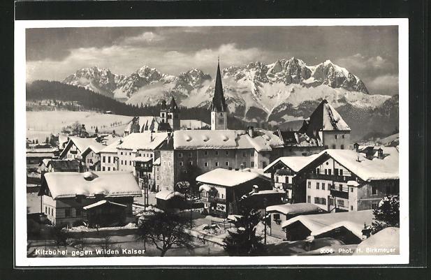 AK Kitzbühel, Ortsansicht gegen Wilden Kaiser